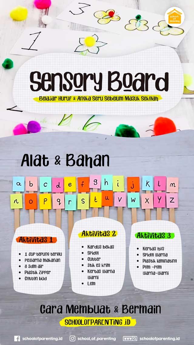 sensory board untuk belajar angka dan huruf